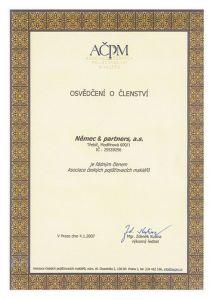 Osvědčení členství - Asociace českých pojišťovacích makléřů